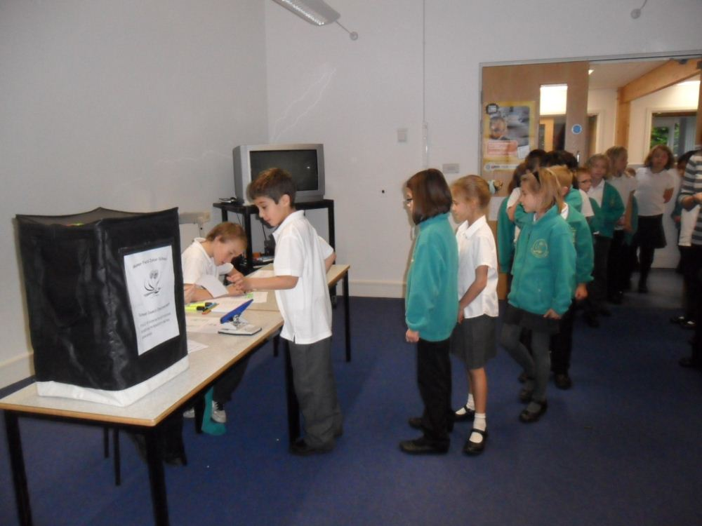 Children voting for their school councillors